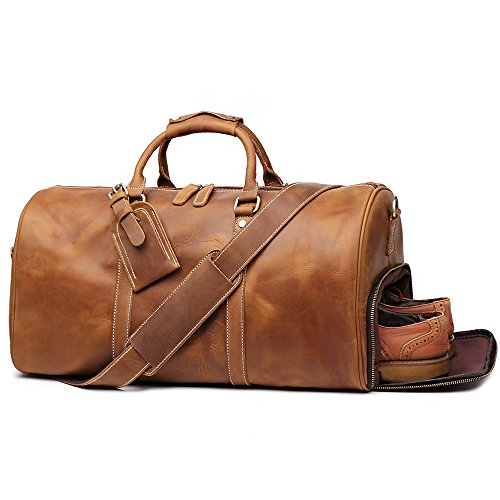 Leathfocus Leather Travel Luggage Bag, Mens Duffle Retro Carry on Handbag (Brown) (Leather Bags Men Weekend For)
