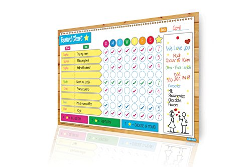 Magnetic Responsibility & Reward Chart Set, Flexible Dry Erase Board For Kids & Toddlers, Family Chores Calendar To Encourage Children's Routine & Good Behavior, Multicolored Learning & Sports Tracker
