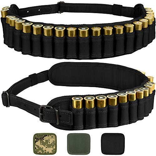 BronzeDog Waterproof Shotshell Holder Nylon Belt Case Ammo Gauge Adjustable Shotgun Rounds Shoulder Bandolier Hunting Accessories 12 16 Gauge (Plain Black)