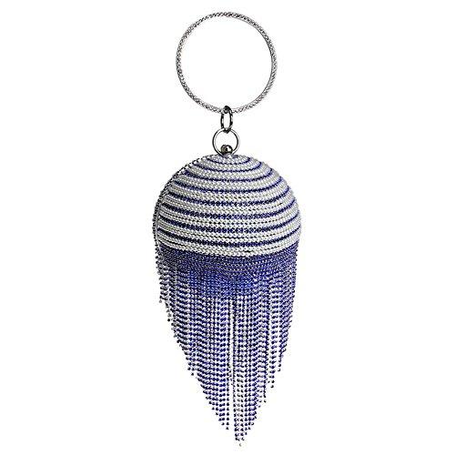 de à forme x sacs main x femmes sac glands banquet 5 mariage 36 9 blue cristaux de fête boule 12 perle strass cm aux soirée wqzZ81q