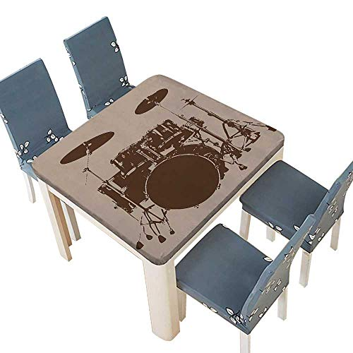 PINAFORE Polyester Tablecloths Grunge Drum Kit Bass Rythm Lovers Ba Dum TSS Image Sketchy Art Indoor Outdoor Use 45 x 45 INCH (Elastic Edge)