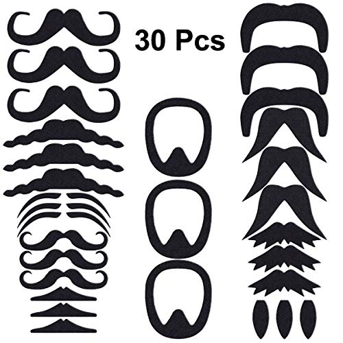 LUOEM Fake Mustaches Self Adhesive Mustache Novelty Mustaches Halloween Party Favors Costume Performance,Pack of 30 ()