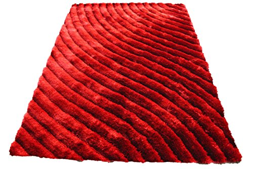 8'x10' Red 3D Shag Shaggy Area Rug Carpet Striped Woven Braided Hand Knotted Feizy Accent Fluffy Fuzzy Modern Contemporary Medium Pile (SAD 274 Red) ()