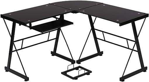 OffiClever L sharped Corner Glass Keyboard Cool Desk