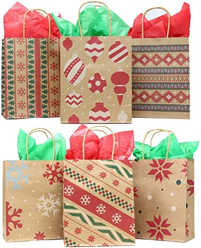 24 Christmas Kraft Gift Bags with Assorted Christmas Prints for Kraft Holiday Paper Gift Bags, Christmas Goody Bags, Xmas Gift Bags, Classrooms and Party Favors via Joiedomi