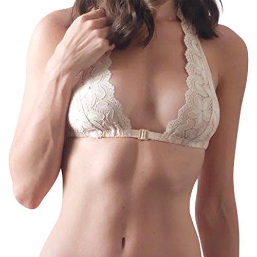 Anna Diamanté Halter Bra, Flat Lace, Nude Buff (L) by Hottie Australia