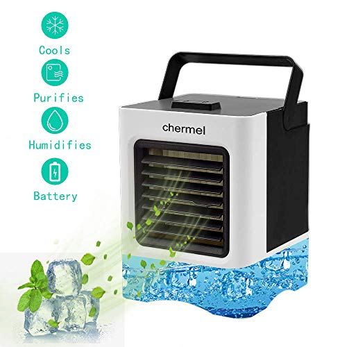 chermel Portable Air Conditioner Fan, Personal Air Cooler, 3 in 1 Mini Evaporative Cooler, Humidifier, Purifier, USB Table Cooling Fan 3 Speeds Ultra-Quiet for Home, Office, Dorm