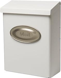 Gibraltar Mailboxes Designer Locking Medium Capacity Galvanized Steel White, Wall-Mount Mailbox, DVKW0000
