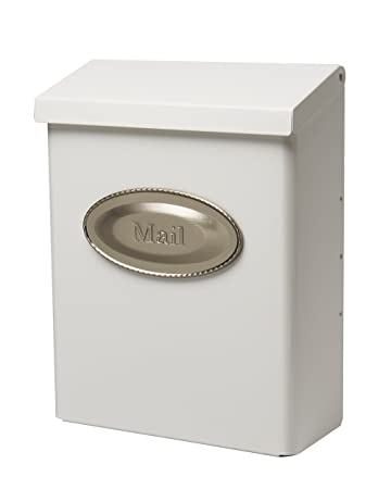 gibraltar designer locking medium capacity galvanized steel white wallmount mailbox dvkw0000 - Wall Mount Mailboxes