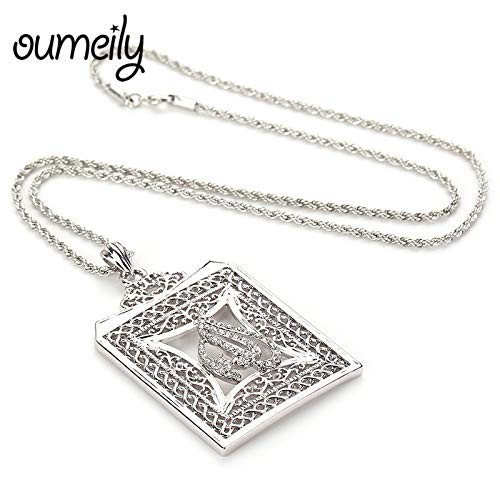 Davitu Allah Pendant Necklace Women Trendy European Jewelry Middle East//Muslim Islamic Arab Men Vintage Accessories Gift Metal Color: S1270, Length: 58CM