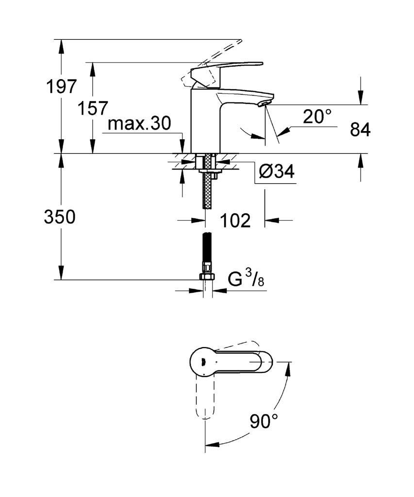 GROHE Robinet de Lavabo Eurosmart Cosmopolitan Clapet de Vidage Bec Standard 20208002 Import Allemagne