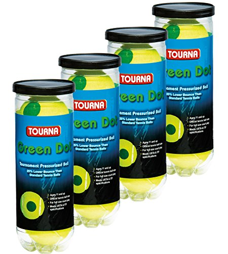 Tourna Green Dot Tennis Balls in a Pressurized Can, 4 Pack(12 balls), USTA Approved