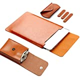 LAPOND 13 Inch Leather Laptop Sleeve Case For 13.3 Inches MacBook Air and Macbook Pro with Retina Display, Laptop Case Bag with Mouse Pad (Light Brown)
