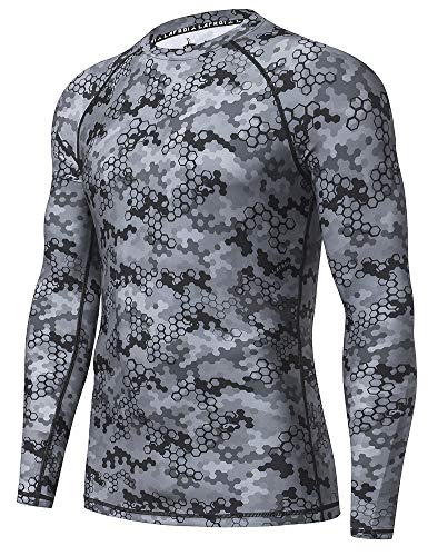 LAFROI Men's Long Sleeve UPF 50+ Baselayer Skins Performance Fit Compression Rash Guard-CLY02C