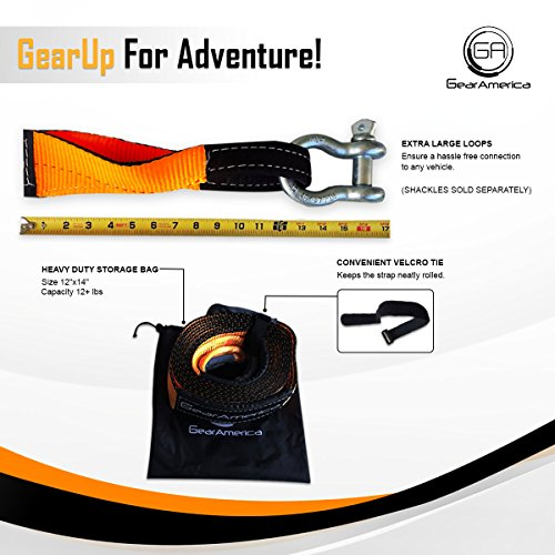 Heavy-Duty Tree Saver Winch Strap | Off-Road Towing and Recovery Rope for Truck, Jeep and SUV | Attach Hook or D-Ring Shackle to Pull Stuck Vehicle | Lab-Tested 35,000 lbs | BONUS Storage Bag by GearAmerica (Image #6)