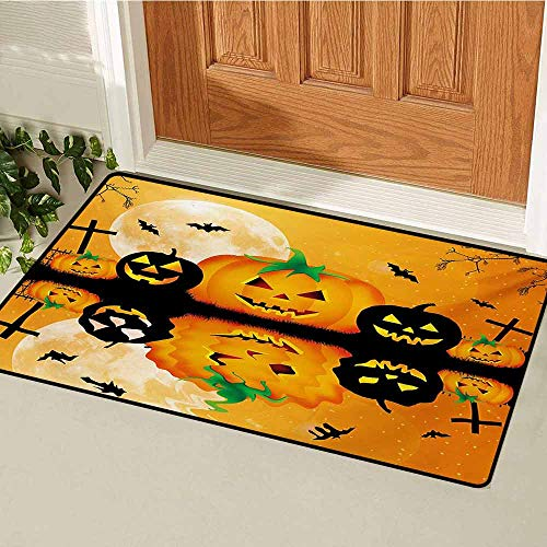 GUUVOR Halloween Commercial Grade Entrance mat Spooky Carved Halloween Jack o Lantern and Full Moon with Bats and Grave Lake for entrances garages patios W15.7 x L23.6 Inch Orange Black -