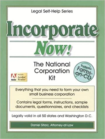 Incorporate Now The National Corporation Kit The Legal SelfHelp - Corporation legal form