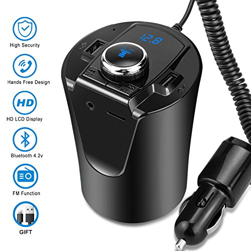 Wireless Bluetooth FM Transmitter MP3 USB Car Radio Aux Bluetooth Adapter Receiver for Car Phone iPhone Charging  Hands-Free Calling Black
