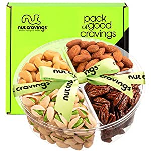 Holiday Christmas Nut Gift Basket, Green Ribbon (Meduim Tray 4 Mix) - Xmas Gourmet Food Arrangement Platter, Care Package, Healthy Kosher Snack Box for Families, Women, Men, Adults