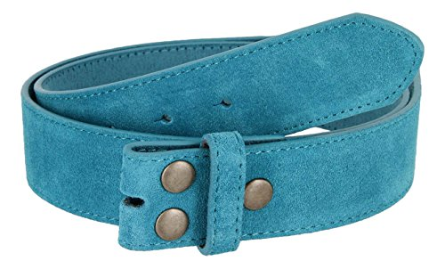 Suede Leather Casual Jean Belt Strap for Men (Blue, 32) ()