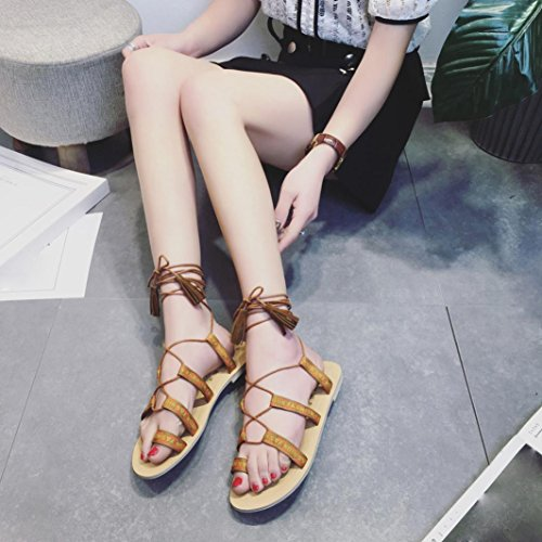 Ladies Clip Summer Shoes Bandage Sandals Beach Clode® Womens Fashion Strappy Toe Girls Bohemia Brown New Sandals Flat Gladiator x8BwRqX