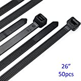 Cable Zip Ties Heavy Duty 26 Inch, Strong Large Black Zip Ties with 200 Pounds Tensile Strength, 50 Pieces, Long Durable Nylon Black tie wraps, Indoor and Outdoor UV Resistant, Quality Cable Ties