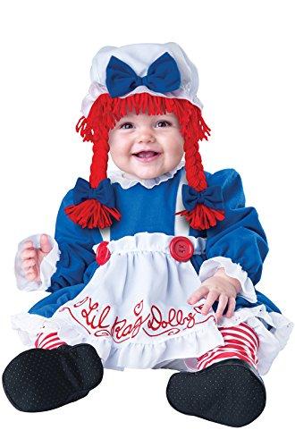 [InCharacter Baby Girl's Rag Doll Costume, Red/White/Blue, Medium] (Raggedy Ann Costume Infant)