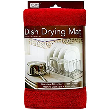 Kitchen Basics 461710 Microfiber Dish Drying Mat, Red