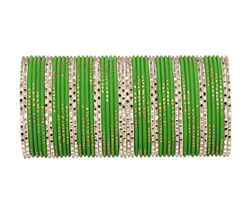 Ratna Attractive Green Punjabi Style Bangles Set of 52 Pieces Traditional Wedding Jewelry (2.4)