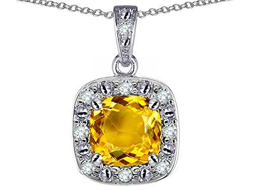 Star K 14k White Gold Cushion Genuine Citrine Halo Pendant Necklace