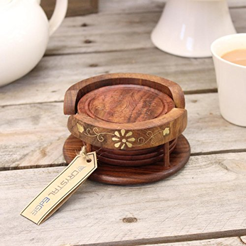 6 Hand Carved Wooden Coasters & Brass Inlayed Holder - Hand Inlayed