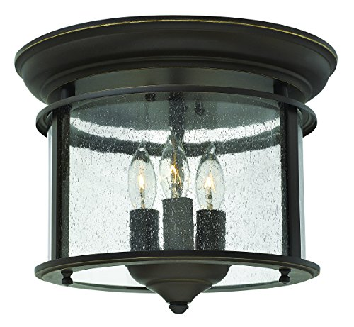Hinkley 3473OB Traditional Three Light Flush Mount from Gentry collection in Bronze/Darkfinish, (Bulbs 3 Collection)