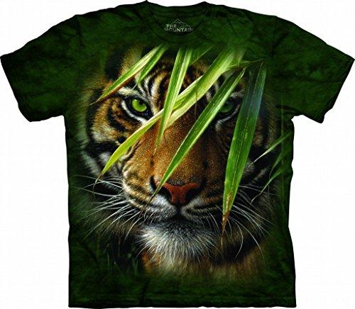 (Emerald Forest Small Cotton Tigers T-Shirt Green Adult Men's Women's Short Sleeve T-Shirt)