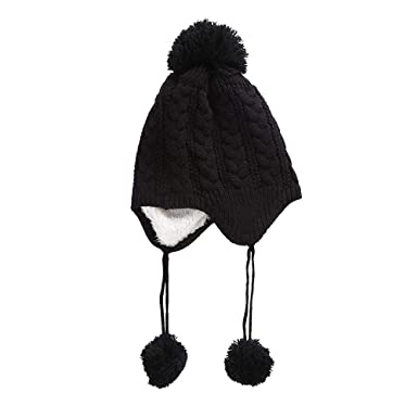 8e68da8d32c Baby Girls Boys Kids Winter Hat Knitted Chunky Lined Beanie Earflap Hat  with Large Pom Pom Cap Ski Snowboard Hats Bobble (Black)  Amazon.co.uk   Clothing