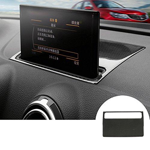 Carbon Fiber Dashboard GPS Navigation Trim Cover 1pcs For Audi A3 S3 2014-2017 JINYIYUAN