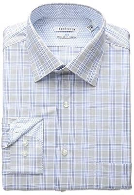 Van Heusen Men's Air Regular Fit Plaid Spread Collar Dress Shirt