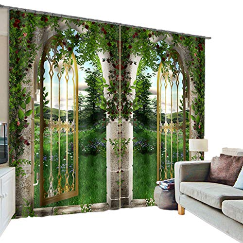 Green Natural Scenery Print Light Blocking Durable Practical Window Treatment Decorative Polyester Scenery 3D Blackout Curtain,2 Panels (104W84