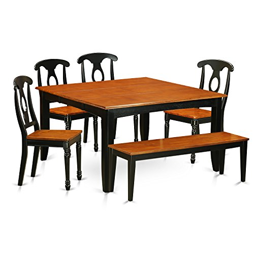 East West Furniture PFKE6-BCH-W Dining Table and 4 Solid Wood Chairs Plus One Bench Set 6Piece