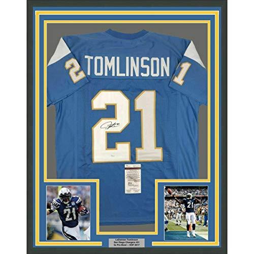 Signed LaDainian Tomlinson Jersey - FRAMED 33x42 Powder Blue COA - JSA Certified - Autographed NFL Jerseys