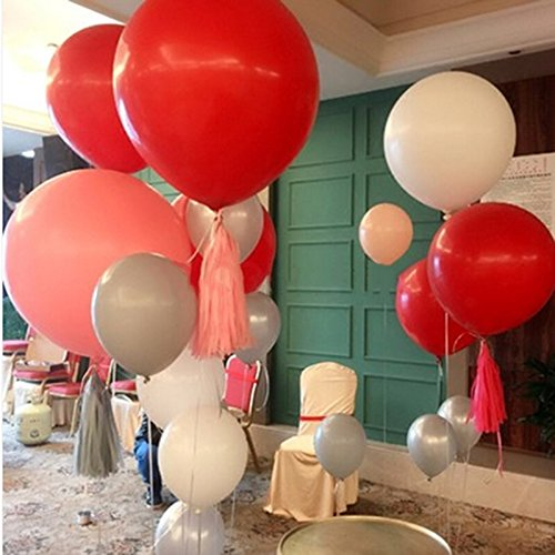 GuassLee 5 Big Balloon 36 Inch Latex Giant Balloon Large Balloons for Photo Shoot/Birthday/Wedding Party/Festival/Event/Carnival Decorations Red