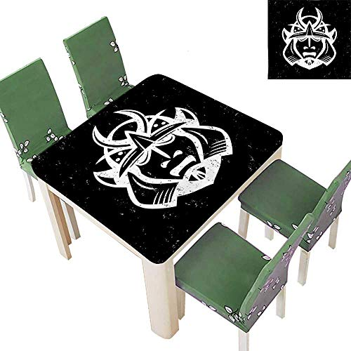 Polyester Fabric Tablecloth Traditional Ancient Martial Helmet Eastern Medieval Spiritual War Mythology Pattern Black Summer & Outdoor Picnics 23 x 23 Inch (Elastic Edge)