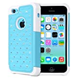 Fosmon HYBO-SD Series (Star Diamond Design) Dual Layer Hybrid PC + TPU Protective Skin Case Cover for Apple iPhone 5C - Fosmon Retail Packaging (Sky Blue/White)