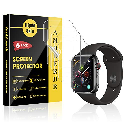 (AMBBERDR 6-Pack Screen Protector for Apple Watch 44mm Series 4 Max Coverage Flexible Film [Not Wet Applied] with Lifetime Replacement Warranty)