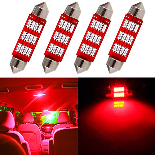 cciyu Festoon LED Bulb, 4Piece Red 41MM 214-2 212-2 569 6413 Epistar Light Bulbs Replacement fit for Interior Dome Map Light