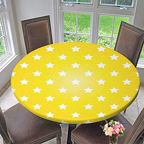 (Mikihome Round Fitted Tablecloth Bursting Vibrant Hanging Stars Fun Retro Kids Graphic Design for Home Artprint White for All Occasions 40
