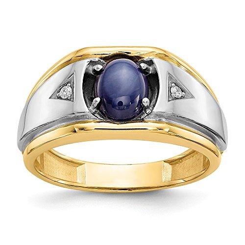 10K Yellow Gold & Rhodium Blue Star & .01ct Diamond Men