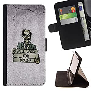 DEVIL CASE - FOR Samsung Galaxy S3 Mini I8190Samsung Galaxy S3 Mini I8190 - Will Work For Brains Funny Zombie - Style PU Leather Case Wallet Flip Stand Flap Closure Cover