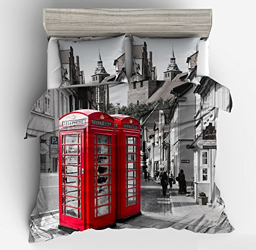 Awesome England Telephone Booth Cotton Microfiber 3pc 80''x90'' Bedding Quilt Duvet Cover Sets 2 Pillow Cases Full Size by DIY Duvetcover