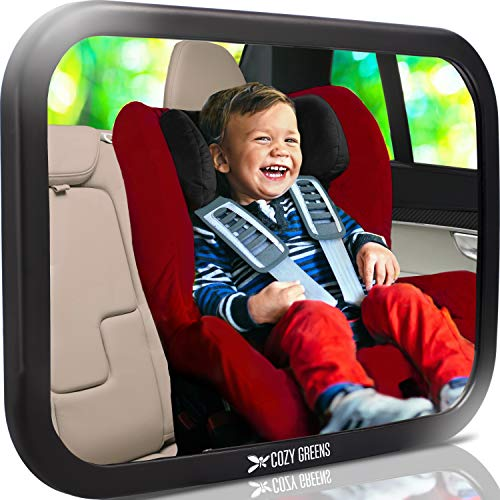 COZY GREENS Baby Car Mirror - Most Stable - View Infant in Rear Facing Seat - 100% Lifetime Satisfaction Guarantee - Safety Crash Tested & Shatterproof - Back Seat Backseat ()