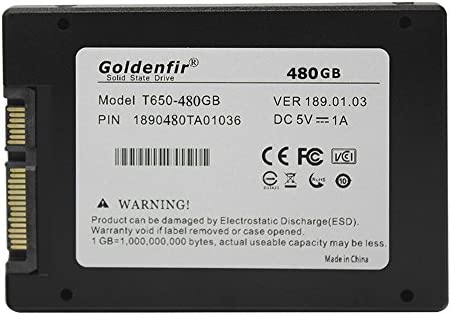 GOLDENFIR Disco Duro Interno SSD SATA 3 480 GB Giga GB 2.5 ...